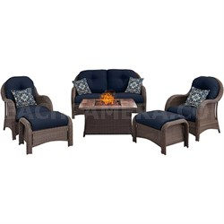 Newport 6-Piece Woven Fire Pit Set w/ Wood Grain Tile Top - NEWPT6PCFP-NVY-WG