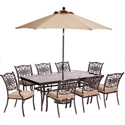 Traditions 9PC Dining Set:8 Chairs42 x84  Glass TableUmb Stand