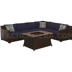 Metropolitan 6-Piece Fire Pit Lounge Set in Navy Blue - METRO6PCFP-NVY-B
