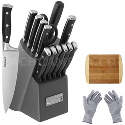 Triple Rivet Collection 15-Piece Knife Block Set w/Cutting Board & Safety Gloves