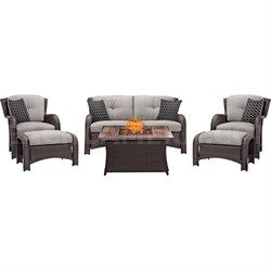 Montana 6-Piece Lounge Set in Silver Lining w/ Fire Pit Table - MON6PCFP-SLV-WG