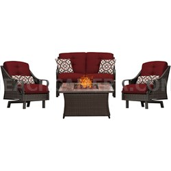 Ventura 4-Piece Fire Pit Chat Set with Wood Grain Tile Top - VEN4PCFP-RED-WG