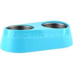 O2C Chill Pet Double Bowl Blue