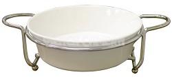 Super White Ceramic Serveware With Caddy Round 9'