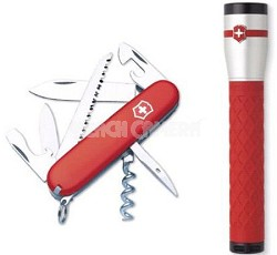 Camper Knife AA LED COMBO - Red/Silver - 56837