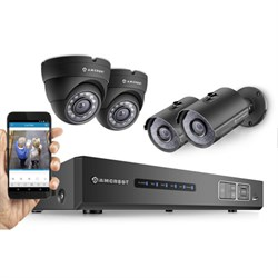 HD 720P 4CH Video Security System - 4 1280TVL 1MP IP66 2 Dome, 2 Bullet Cameras