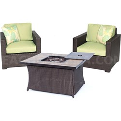 Metro3pc FP Set: 2 Deep Seating Side Chairs Woven Fire Pit Coffee Table
