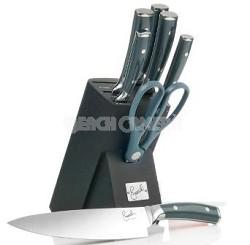 8-piece German Steel Knife Set with Block (Gray)