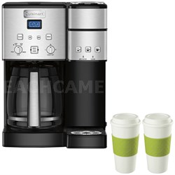 SS-15 12-Cup Coffee Maker & Single-Serve Brewer w/ 2 Reusable To Go Cups (Green)