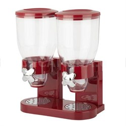 Double Cereal Dispenser with Portion Control in Red - KCH-06125