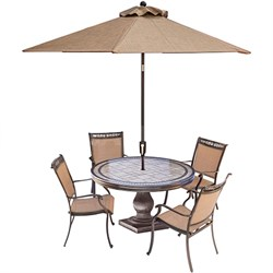 5pc Dining Set:4 Sling Dining Chrs 51  Rnd Tile Top Dining Tbl Umbrella