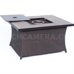 Hanover Woven Coffe Table Fire Pit with Wood Grain Tile Top and Lid