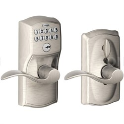 Camelot Keypad Entry with Flex-Lock & Accent Levers - Satin Nickel - OPEN BOX