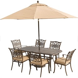 Traditions 7PC Dining Set: 6 Chairs 38 x72  Table Umbrella and Stand