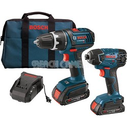 18V 2-Tool Kit with Compact Tough Drill Driver, Impact Driver, and 2 SlimPacks