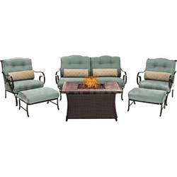Oceana 6pc Fire Pit Set with Tan Tile Top
