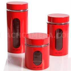 Kitchen Food Storage Glass Canister Mr. Coffee Java Bar Set in Red - 92011.03