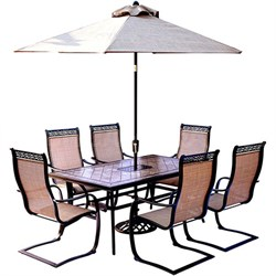 Monaco 7PC Dining:6 Spng Sling Chrs40 X68  Porcelain Tbl Umb Stand