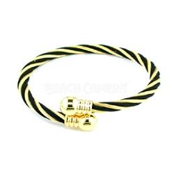 "STST GOLDTONE/ BLACK STRIPPED TWISTED CABLE 8"" BANGLE"