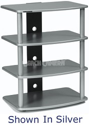 SF-4A Audio/Video Component Rack (Black) w/ Silver Steel Posts