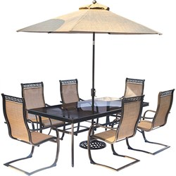 Monaco 7-Piece Dining Set w/ Spring Sling Chairs Umbrella Base - MONDN7PCSPG-SU