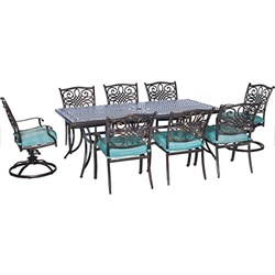 Piece Traditions Dining Set in Ocean Blue - TRAD9PCSW2-BLU