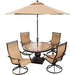 Monaco 5-Piece Swivel Rocker Dining Set w/ 9-Ft. Table Umbrella - MONACO5PCSW-SU