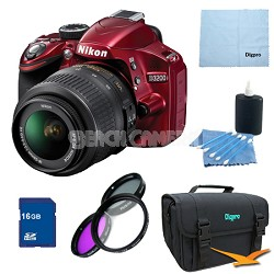 D3200 DX-format Digital SLR 16GB Kit w/ 18-55mm DX VR Zoom Lens (Red)