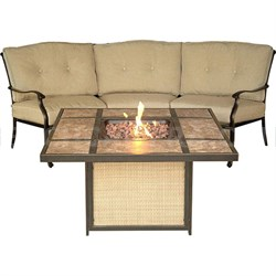 Traditions 2pc Fire Pit Set: 1 Tiled Fire Pit 1 Crescent-shaped Sofa
