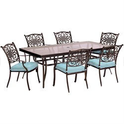Traditions 7PC Dining Set: 6 Chairs (Blue) and 42 x84  Glass Table