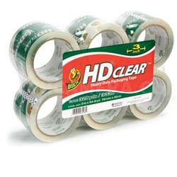 """6-Pack 3"""" x 55-Yard Duck High Performance Packaging Tape - 307352"""