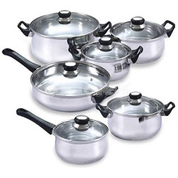 12 Piece Stainless Steel Nonstick Cookware Set