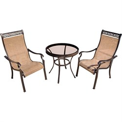 Monaco 3PC Bistro Set: 2 Sling Chairs and 30  Glass Table
