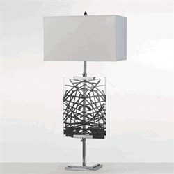 Easel Table Lamp w/ Interchange Panels 1-150W 3-Way Std Bulb 36 HX17 D