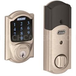 Connect BE469NXCAM619 Touchscreen Deadbolt W/ alarm & Camelot Trim, Satin Nickel