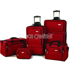 5 Piece Signature Lightweight Travel Luggage Set in Red