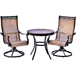 Monaco 3PC Bistro Set: 2 Swvl Sling Chairs and 30  Glass Table