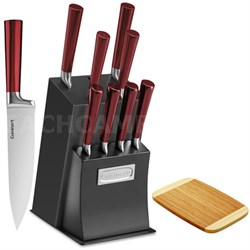 11 Pc Cutlery Set w/block - Ventrano Red w/ Bamboo Cutting Board