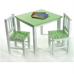 Child's Table and 2 Chairs in Green and White - 513GR