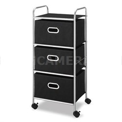 3-Drawer Rolling Cart in Black/Chrome - 6705-3871-BLK-BB