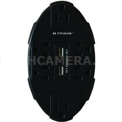 6 Outlet Wall Tap w/ 2 USB Ports - XWS8-0106-BLK (Black)