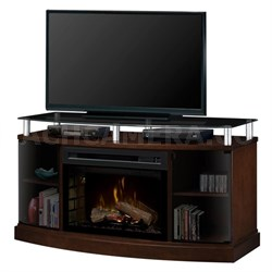 Windham Electric Fireplace Media Console - With Logs - Mocha