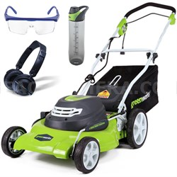 "12 Amp 20"" Corded Lawn Mower w/ HP23 Headphones, 24oz Bottle & Safety Glasses"