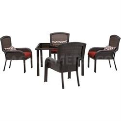 Strathmere 5-Piece Square Dining Set - STRADN5PCSQ-RED