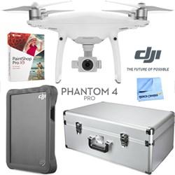 Phantom 4 Pro Quadcopter Drone + Case; DJI 2TB Fly Drive; Paintshop Pro 9 Bundle