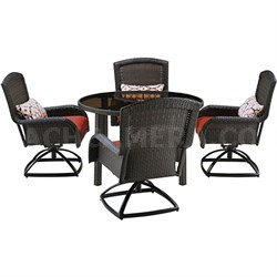 Strathmere 5-Piece Round Dining Set w/Four Swivel Rockers - STRADN5PCSW-RED