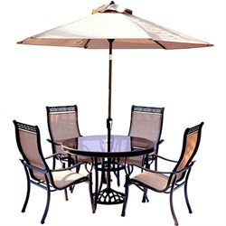 Monaco 5PC Dining Set:4 Sling Chrs 48  Glass Tbl Umb Stand