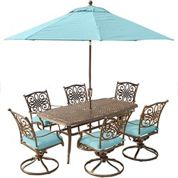 Traditions 7PC Dining: 6 swivel chrs (Blue)38 x72  Cast Tbl Umb Stand