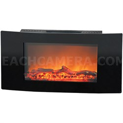 35  Callisto Curved Wall Mount Electronic Fireplace with Logs