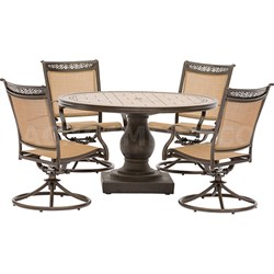 5pc Dining Set: 4 Sling Swivel Chairs 51  Round Tile Top Dining Table
